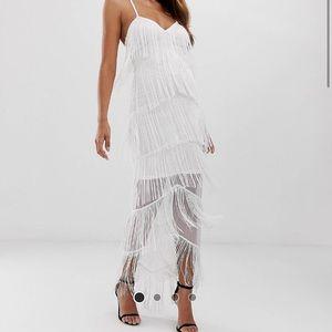 Fringe Mesh Strappy Maxi Bodycon Dress